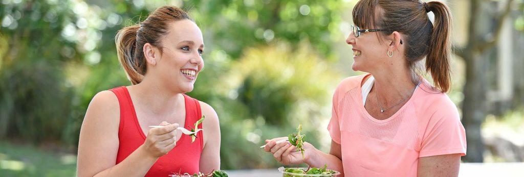 Women eating healthy food