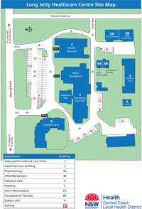 Long Jetty Healthcare Centre site map